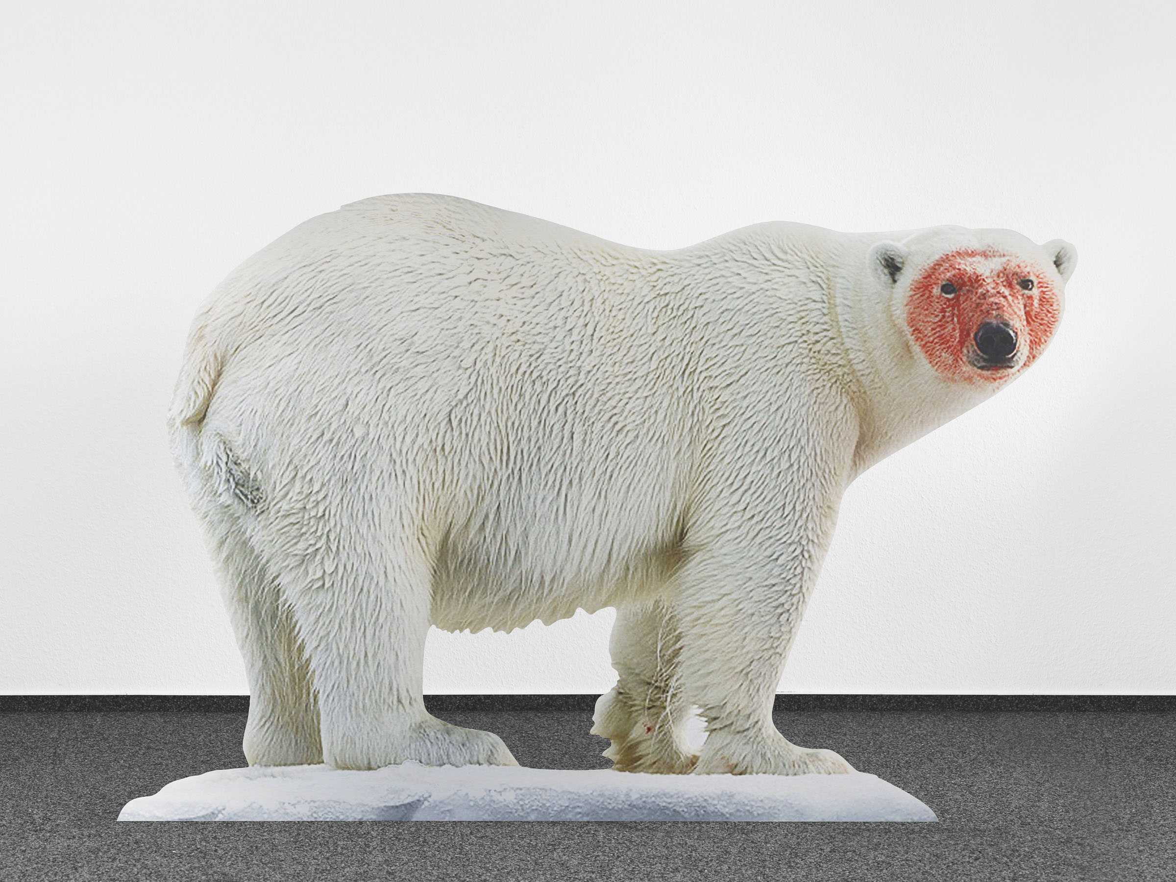 Katja Novitskova, Approximation (polar bear), 2017, Digital print on aluminum, cutout display, acrylic glass, 148x226x38 cm - Collezione Sandretto Re Rebaudengo, Torino