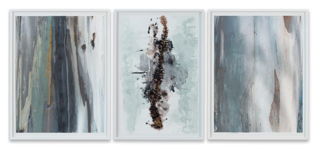 María Magdalena Campos-Pons, Mother Tree. Rooted by the Spine, 2019/20, mixed media on archive watercolor paper triptych: 66 x 101,5 cm each - csy the artist and Galleria Giampaolo Abbondio photo-credits: Antonio Maniscalco