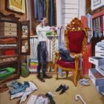 Alessandro Bazan, Collezionista di cravatte, 2013-2015, olio su tela, 200 x 180 cm