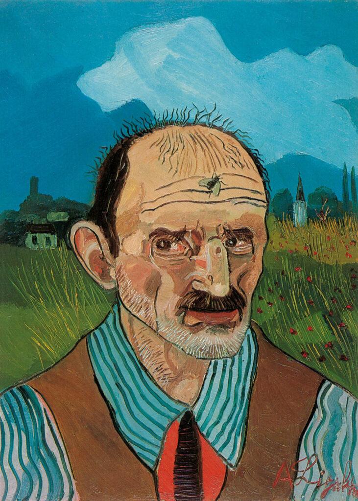 Antonio Ligabue, Autoritratto con mosca, 1960, olio su tela, cm 70x50