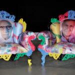 Alessandro Mendini, Senza titolo (poltrona-ritratto di Giuliano Gori dalla serie Proust), 2012, poltrona di legno dipinto con imbottitura serigrafata, 106x102x83, Collezione Gori-Fattoria di Celle