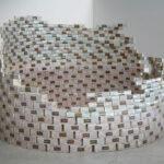 Aldo Mondino, Torre di torrone, 1968, scatole di torrone (legno e carta), 180x260, Collezione La Gaia
