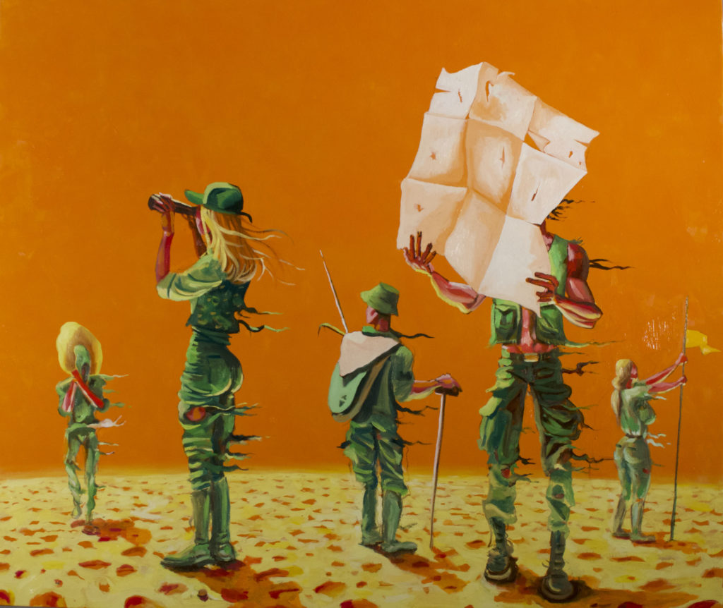Alessandro Bazan, Wait, 2020, olio su tela, 190 x 200 cm
