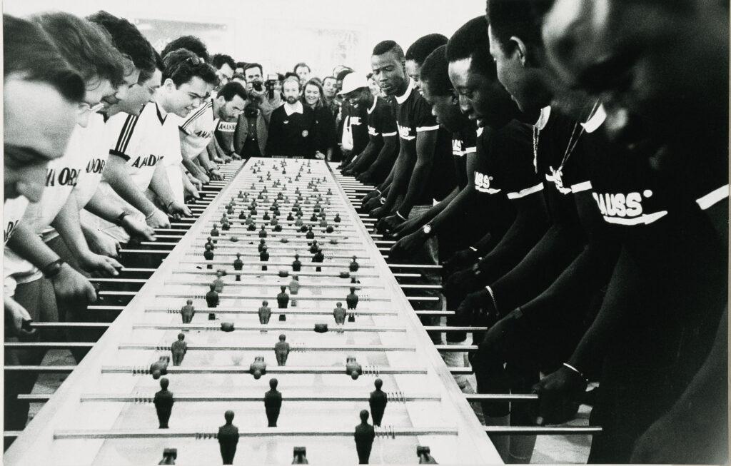Maurizio Cattelan, Cesena 47-A.C. Forniture Sud 12 (2°tempo), 1991, stampa fotografica su alluminio, 125x195 cm, Collezione Sandretto Re Rebaudengo, Torino