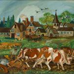 Antonio Ligabue, Aratura, 1961, olio su tela, cm 65,5x110