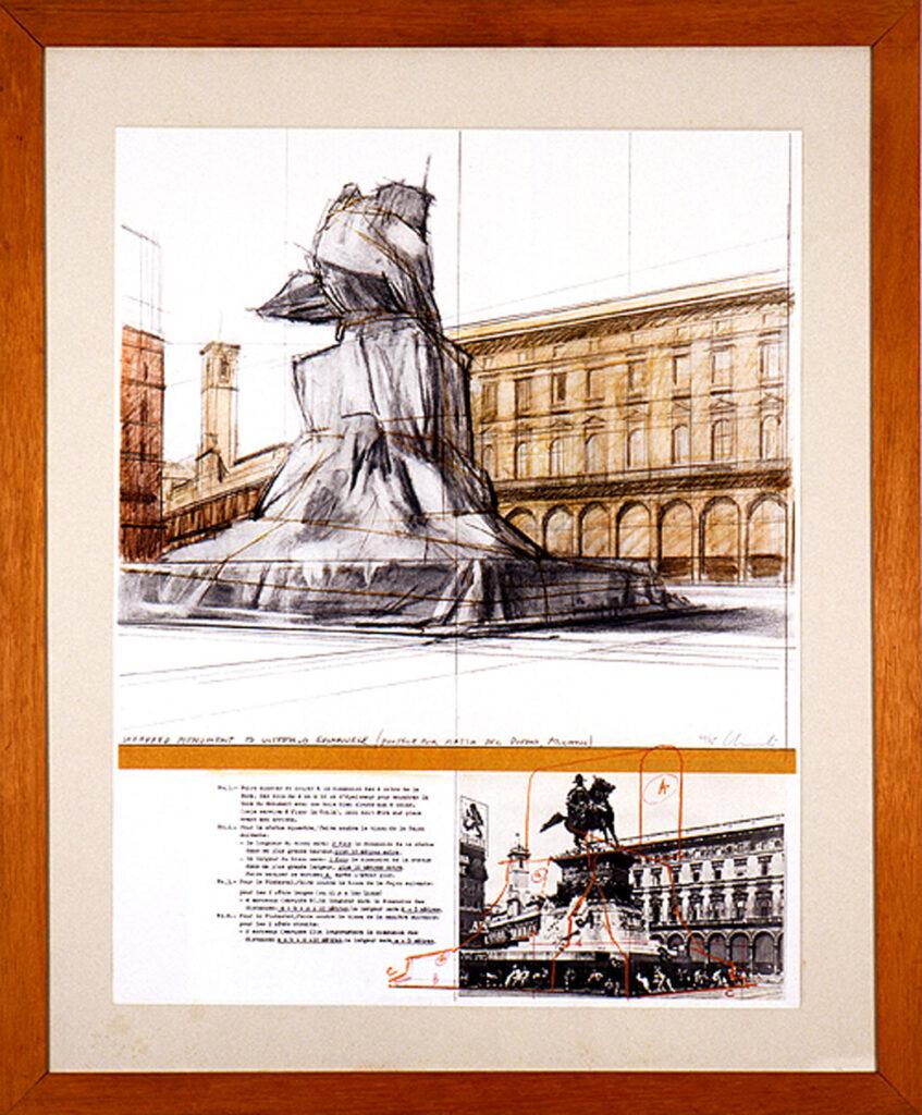 Christo, Wrapped Monument to Vittorio Emanuele (Project for Milano Piazza del Duomo), 1969-1970, tecnica mista su cartone, 71x55,5 cm, Collezione Alt, Bergamo
