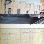 Christo, The Wall (Project for a Wrapped Roman Wall) Porta Pinciana, 1974, tecnica mista su cartone, 71x56 cm, Collezione Gori-Fattoria di Celle, Pistoia