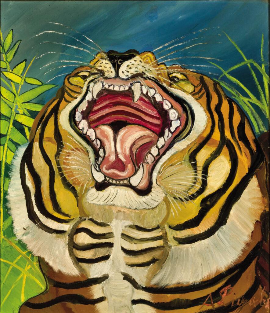 Antonio Ligabue, Testa di tigre, 1953-54, olio su faesite, cm 66,4x57,4