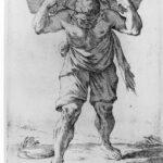Il facchino, da Giuseppe Maria Mitelli, Arti in via, acquaforte, 1660 per De morbis artificum Diatriba Bernardini Ramazzini, 1700, XXXV, Le malattie dei facchini, Collezione privata, Modena