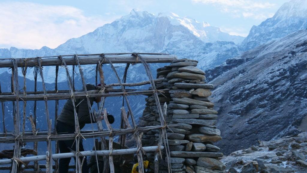 David Kamp recording Himalaya wind and hail sounds.