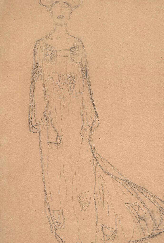 Gustave Klimt (1862 - Vienna - 1918), STANDING FROM THE FRONT WITH HANGING ARMS, STUDY FOR THE PORTRAIT OF ADELE BLOCH-BAUER,1903, Black chalk on paper, 452 x 316 mm (17.8 x 12.4 inch), Courtesy W&K - Wienerroither and Kohlbacher