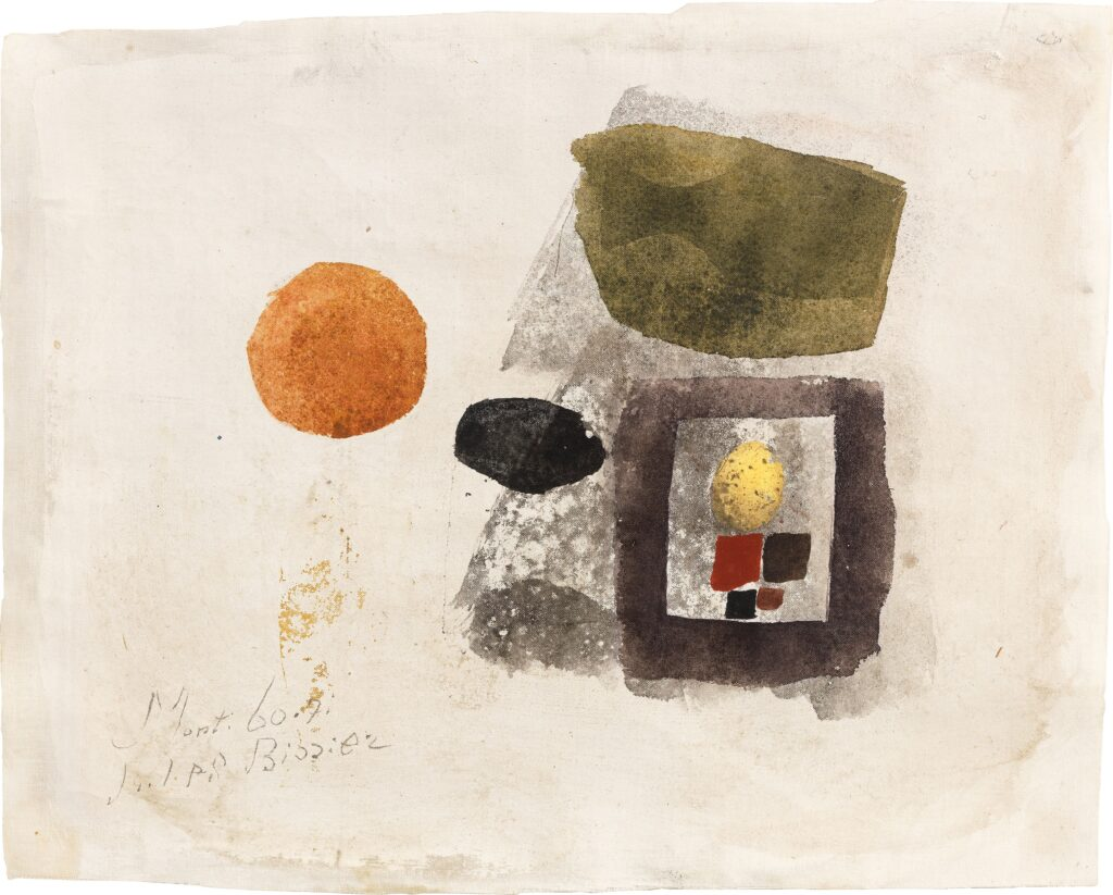 Julius Bissier (1893 - 1965), Monti 60.7i.1960,1960, Egg oil tempera on gold leaf on linen, 21,5 x 26,5 cm, Signed, dated, titled lower left: Monti 60.7i/Julius Bissie, Courtesy Carzaniga