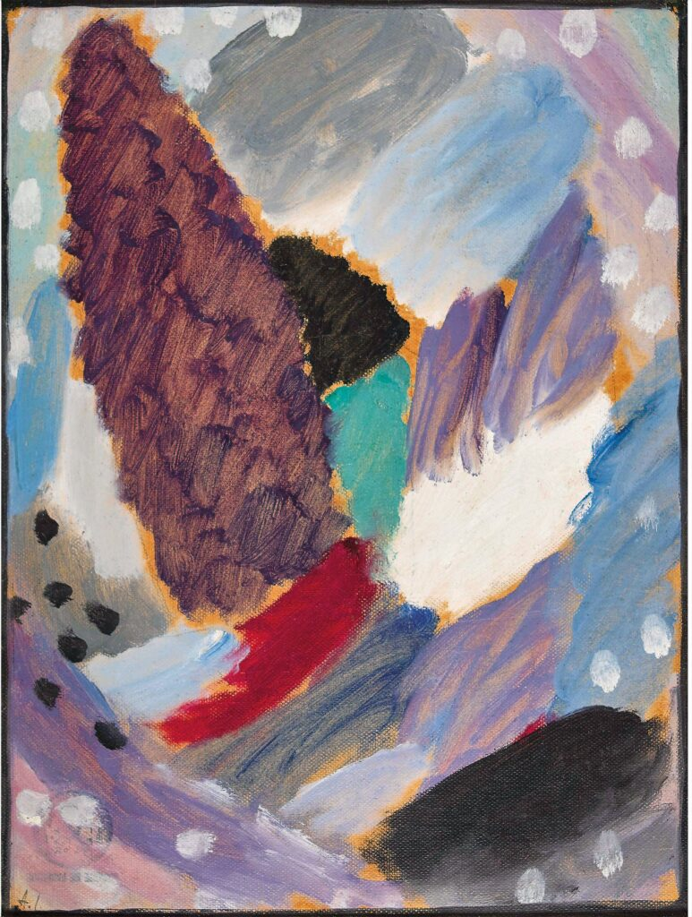 Alexej von Jawlensky (Torschok 1864 – 1941 Wiesbaden), Variation: snowflakes,1915, Oil on linen textured paper, mounted on cardboard, monogramed lower left: 'A.J., 13.8 x 10.6 inch, Courtesy Thole Rotermund Kunsthandel
