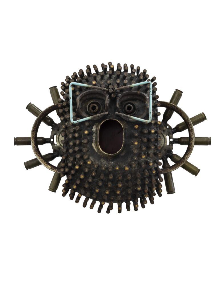 Gonçalo Mabunda, Untitled Mask, 2017, mixed media, cm 46 x 62 x 19