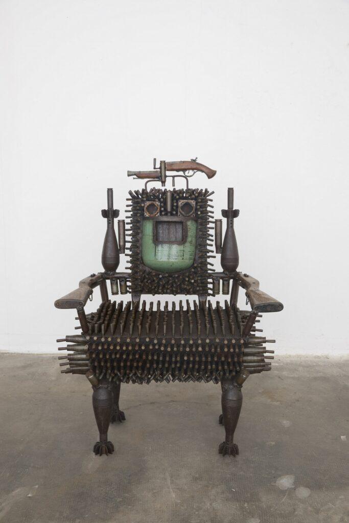 Goncalo Mabunda, Untitled Throne, 2018-19, mixed media, cm 115 x 84 x 76
