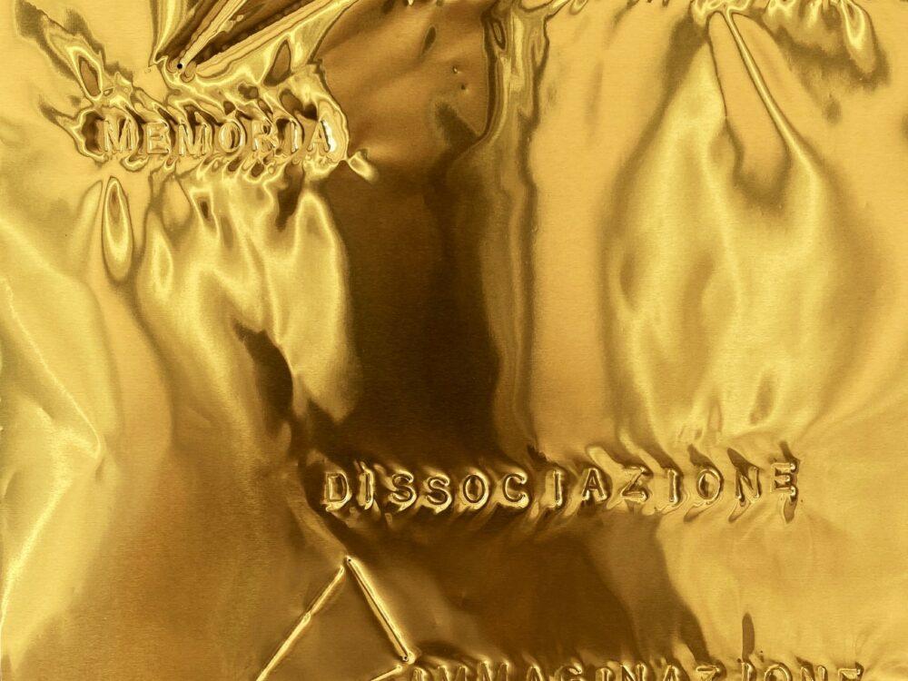 Gianni Moretti, Studio sulla memoria, 2021, impressione a secco su lastra di ottone, 29x18,5 cm (dettaglio)